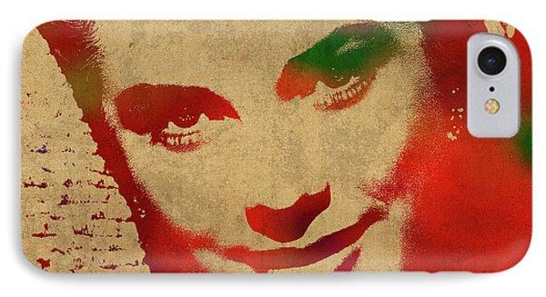 Grace Kelly Watercolor Portrait IPhone Case by Design Turnpike
