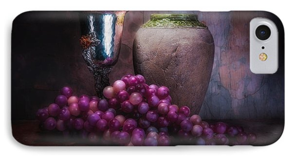 Grapes And Silver Goblet IPhone Case by Tom Mc Nemar