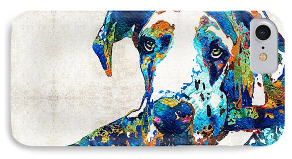 Great Dane Art - Stick With Me - By Sharon Cummings IPhone Case by Sharon Cummings
