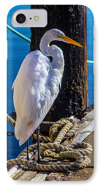 Great White Heron On Boat Dock IPhone 7 Case by Garry Gay