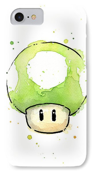 Green 1up Mushroom IPhone Case by Olga Shvartsur