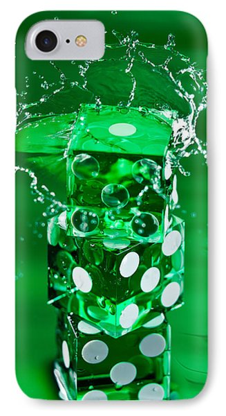 Green Dice Splash Phone Case by Steve Gadomski