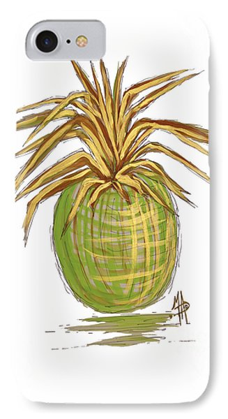 Green Gold Pineapple Painting Illustration Aroon Melane 2015 Collection By Madart IPhone 7 Case by Megan Duncanson