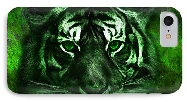 Green Tiger IPhone Case by Michael Cleere
