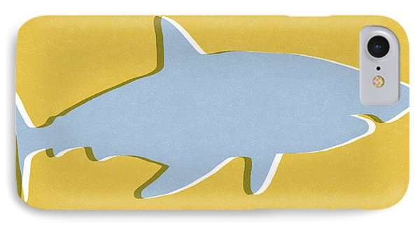 Grey And Yellow Shark IPhone Case by Linda Woods