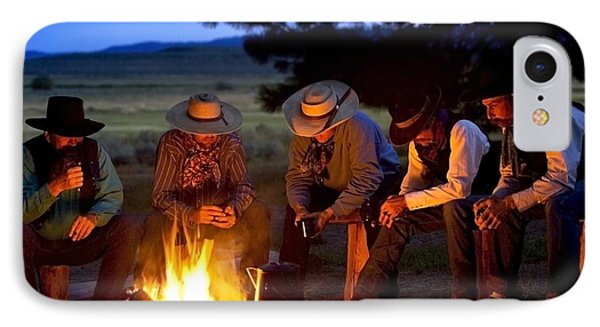 Group Of Cowboys Around A Campfire Phone Case by Richard Wear