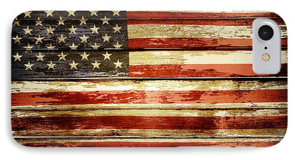 Grunge American Flag IPhone Case by Les Cunliffe