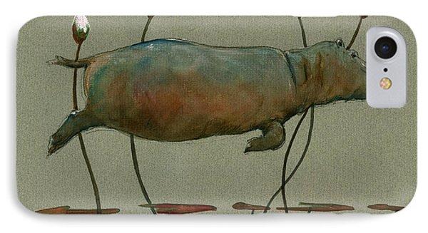 Happy Hippo Swimming IPhone 7 Case by Juan  Bosco