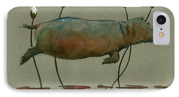 Happy Hippo Swimming IPhone Case by Juan  Bosco