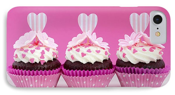 Pink And White Cupcakes. IPhone Case by Milleflore Images