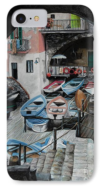 Harbor's Edge In Riomaggiore IPhone Case by Charlotte Blanchard