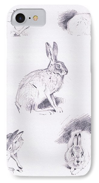 Hare Studies IPhone 7 Case by Archibald Thorburn
