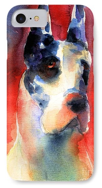 Harlequin Great Dane Watercolor Painting IPhone Case by Svetlana Novikova