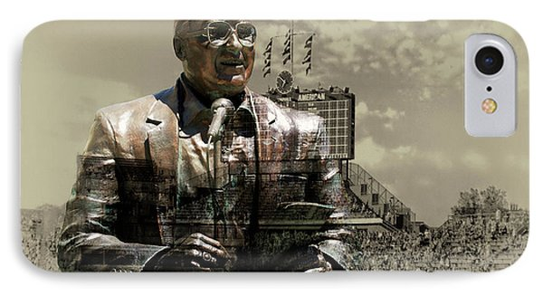 Harry Caray Statue With Historic Wrigley Scoreboard In Heirloom IPhone Case by Thomas Woolworth