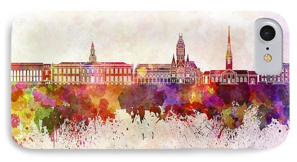 Harvard Skyline In Watercolor Background IPhone Case by Pablo Romero