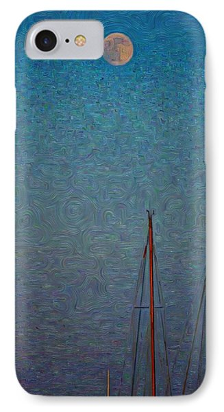 Harvest Full Moon With Boat Masts IPhone Case by Jeffrey Canha