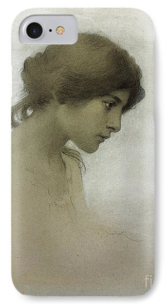 Head Of A Girl  IPhone Case by Franz Dvorak