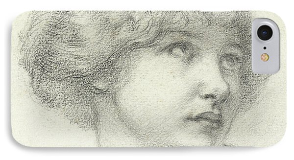 Head Of A Girl  IPhone Case by Walter John Knewstub