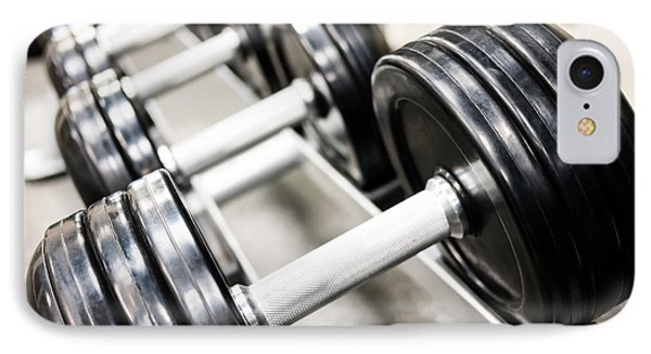 Healthclub Free Weights On A Rack IPhone Case by Paul Velgos