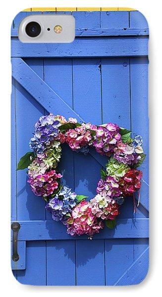 Heart Wreath On Blue Door IPhone Case by Garry Gay