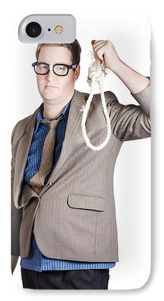 Helpless Businessman Holding Rope With Tied Noose IPhone Case by Jorgo Photography - Wall Art Gallery