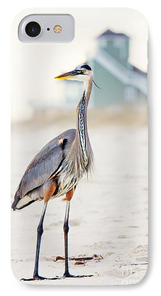 Heron And The Beach House IPhone Case by Joan McCool