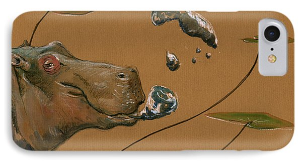 Hippo Bubbles IPhone 7 Case by Juan  Bosco