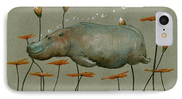 Hippo Underwater IPhone Case by Juan  Bosco