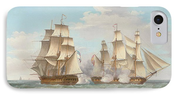 Hms Ethalion In Action With The Spanish Frigate Thetis Off Cape Finisterre IPhone Case by Thomas Whitcombe