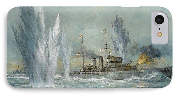 Hms Exeter Engaging In The Graf Spree At The Battle Of The River Plate IPhone Case by Richard Willis