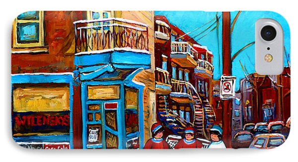 Hockey At Wilensky's Diner Montreal Phone Case by Carole Spandau