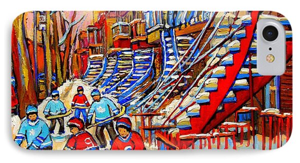 Hockey Game Near The Red Staircase IPhone Case by Carole Spandau
