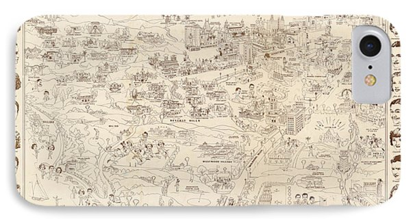 Hollywood Map To The Stars 1937 IPhone 7 Case by Don Boggs