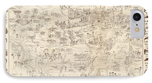 Hollywood Map To The Stars 1937 IPhone Case by Don Boggs