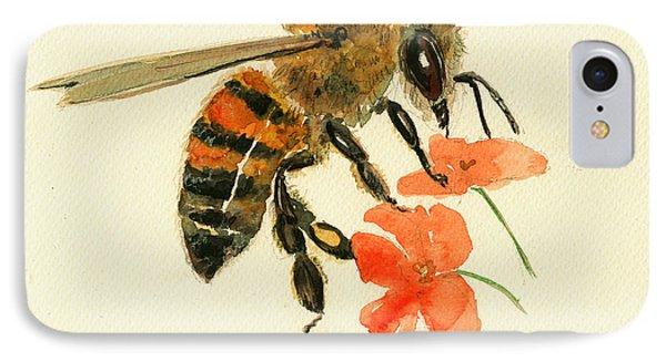 Honey Bee Watercolor Painting IPhone Case by Juan  Bosco