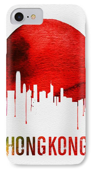 Hong Kong Skyline Red IPhone Case by Naxart Studio