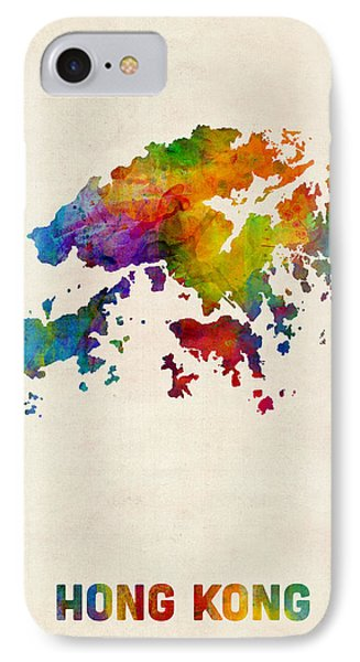 Hong Kong Watercolor Map IPhone Case by Michael Tompsett