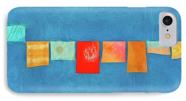 Horizontal String Of Colorful Prayer Flags 1 IPhone Case by Carol Leigh