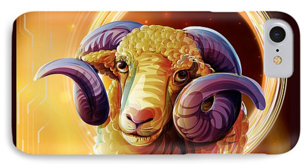 Horoscope Signs-aries IPhone Case by Bedros Awak
