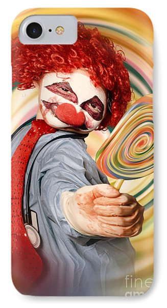 Hospital Clown Offering Psychedelic Lolly Hypnosis IPhone Case by Jorgo Photography - Wall Art Gallery