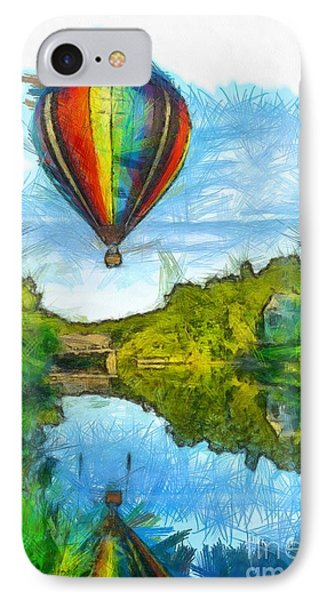 Hot Air Balloon Woodstock Vermont Pencil IPhone Case by Edward Fielding