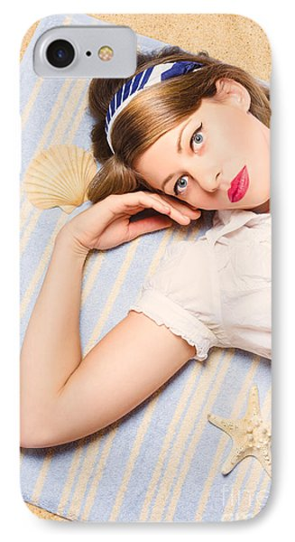 Hot Retro Pinup Girl Lying On Beach In Australia IPhone Case by Jorgo Photography - Wall Art Gallery