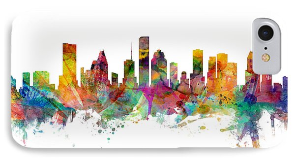 Houston Texas Skyline Panoramic IPhone Case by Michael Tompsett