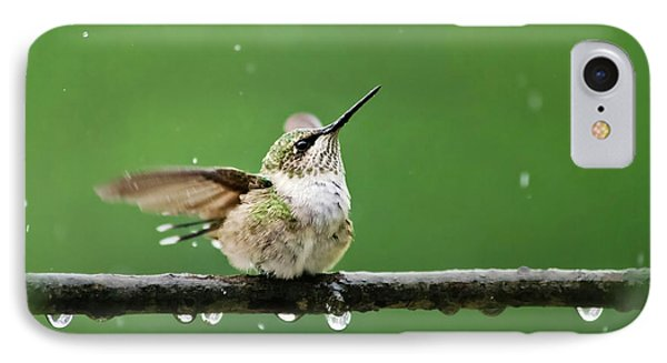 Hummingbird In The Rain IPhone 7 Case by Christina Rollo