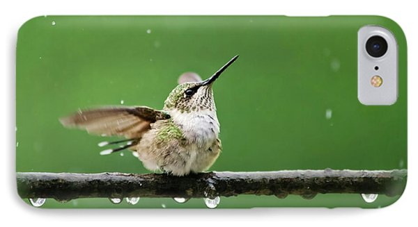 Hummingbird In The Rain IPhone Case by Christina Rollo