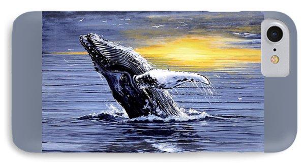 Humpback Whale Breaching Phone Case by Bob Patterson