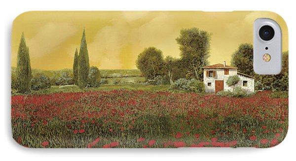 I Papaveri E La Calda Estate IPhone Case by Guido Borelli
