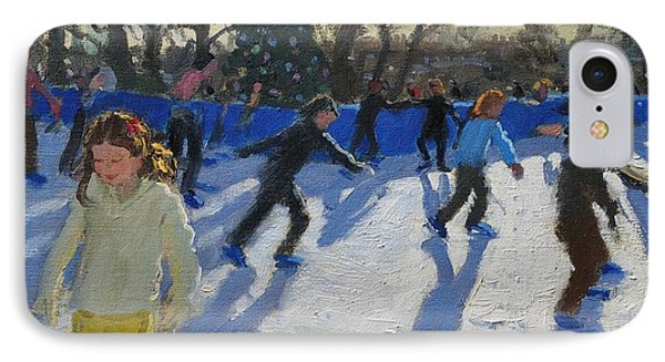 Ice Skaters At Christmas Fayre In Hyde Park  London IPhone Case by Andrew Macara