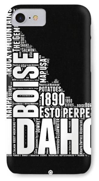 Idaho Black And White Map IPhone Case by Naxart Studio
