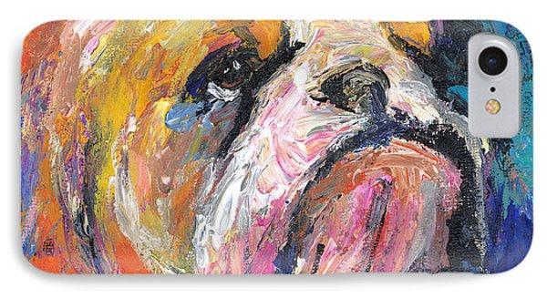 Impressionistic Bulldog Painting IPhone Case by Svetlana Novikova